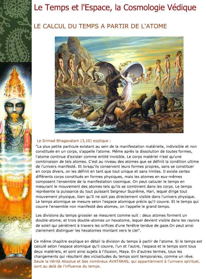 Le Temps et 'Espace, la Cosmologie Vedique