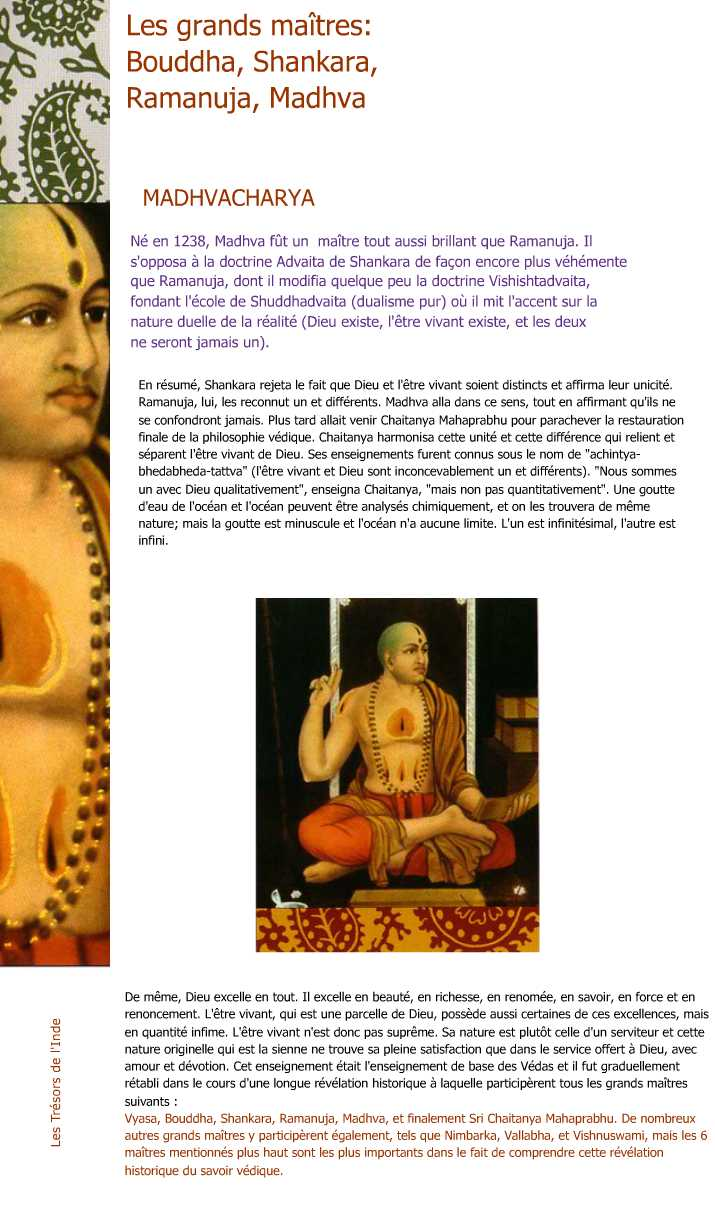 Les Grands Maitres : Bouddha, Shankara, Ramanuja, Madhva